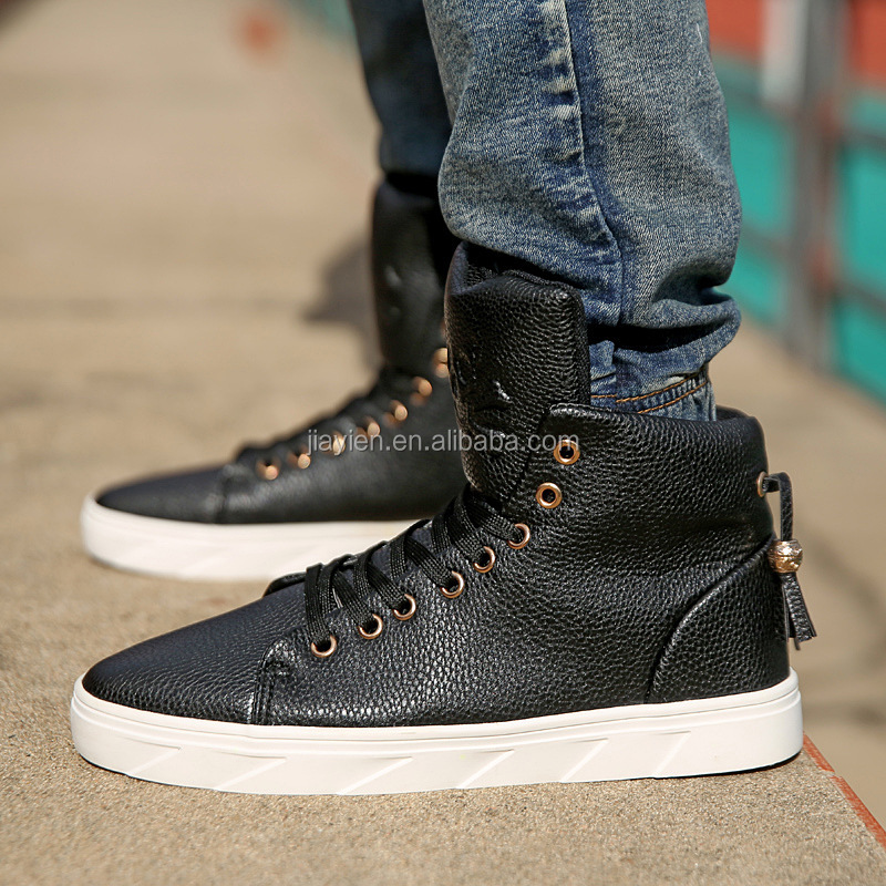 Genuine Leather Men Shoes Skull High Black /White /Red Zipper Leather Flats Korean Male High-top Punk Shoes
