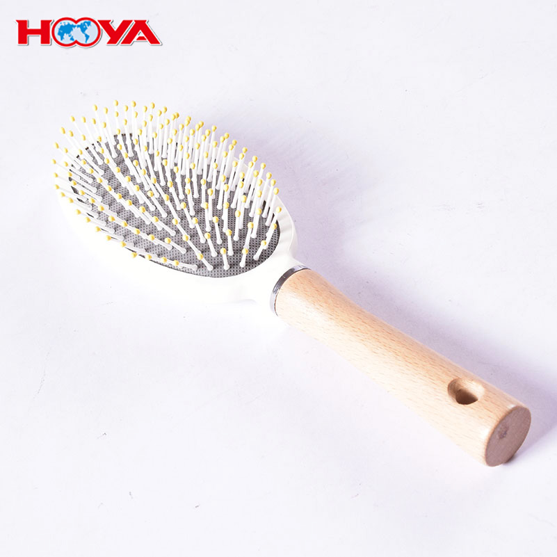 Natural Health Grass Tree Wooden Handle Cushion Oval Nylon Hair Brush