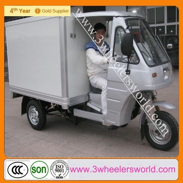 closed body type 200cc adult cargo tricycle with cabin/three wheel motorcycle with Aluminum box/Cargo scooter tricycle