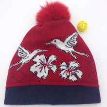 Bird pattern fox fur beanie hat and cap