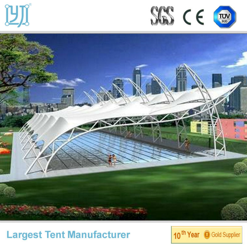 Tensile fabric membrane structure for swimming pool canopy