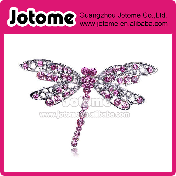 Princess Rose Pink Crystal Rhinestone Filigree Wing Dragonfly Insect Pin Brooch