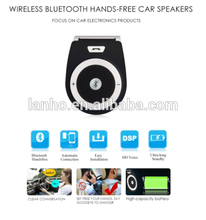 2016 New Stereo Bass Wireless Bluetooth Car Kit Speaker Speakerphone Handsfree Car Kit for iPhone 5 6 Samsung s5 s6 HTC
