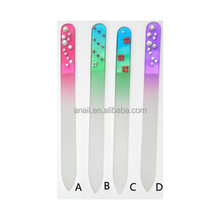 Welcome Custom Printed Colorful Crystal Glass Nail File with wholesale price