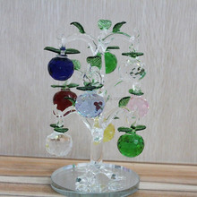 Colorful Christmas ornament table decoration cheap home decor wedding return gift delicate crystal apple tree