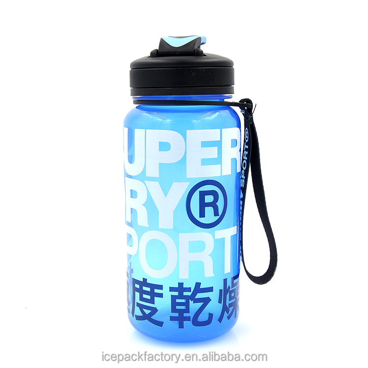 PP plastic transparent sport water bottle BPA free with flip cap
