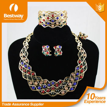 2015 African Newest Bridal wedding jewelry set with multicolor beads /bridal jewelry necklace and earingsEF0065
