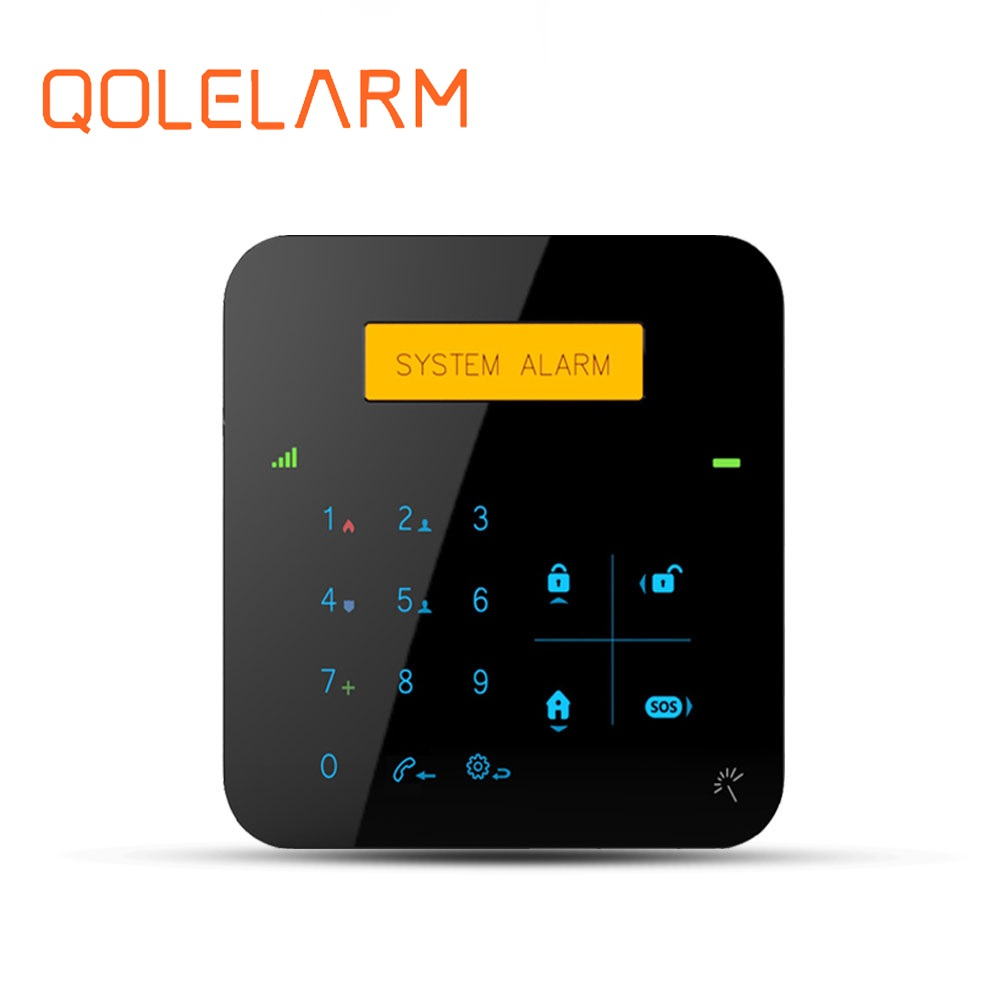 Factory price touch panel gsm home security wireless alarm system support mobile call /sms alarm numbers