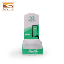 For iPhone Samsung cardboard cell phone cover counter top display paper phone case display stand