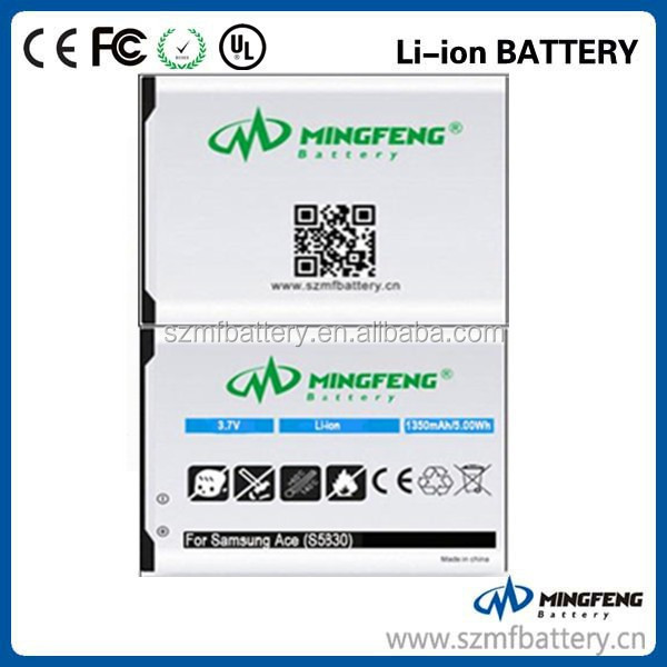 For Galaxy Ace S5830 3.7V Factory Supply Original Quality lithium battery 3.7v 1350mah mobile phone battery