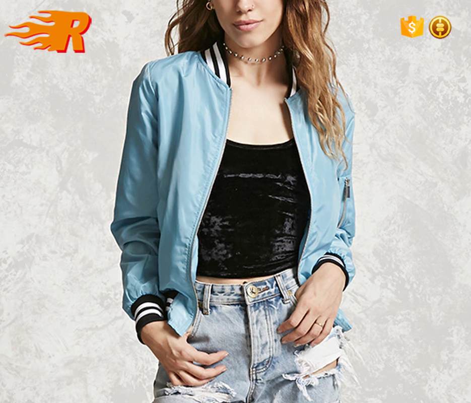 Custom Wholesale Casual Fashion Striped Short Bomber Jacket