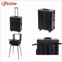 Aluminum Lighted Rolling Makeup Case With Legs