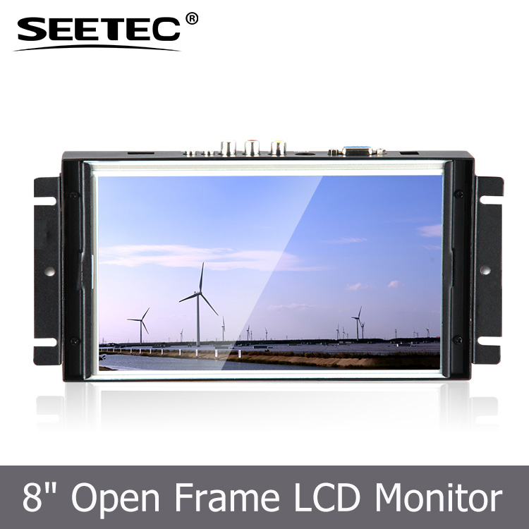8 inch 800*480 resolution widescreen lcd monitor open frame resistive touchscreen VGA input embedded system