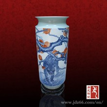 Hand painted blue and white porcelain glow in the dark vase from China