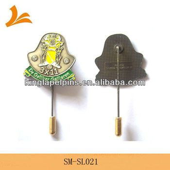 Custom high quality antique brass stick lapel pin