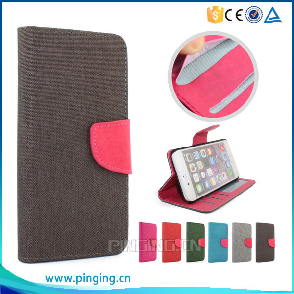 Brand new hemp material pu leather flip cover case for moto g play with photo frame and card slots