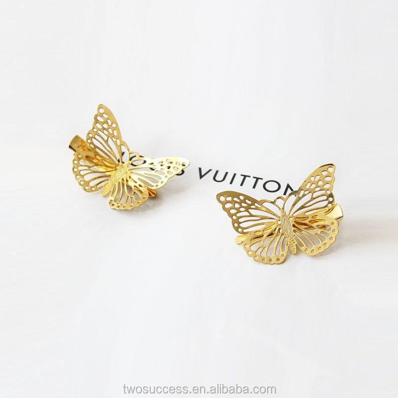 Gold butterfly Hair Clips Women's Hair Accessories Golden Metal Punk Hairpin Headwear .jpg