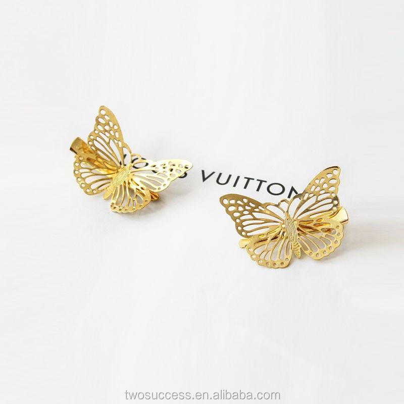 Gold butterfly Hair Clips Women's Hair Accessories Golden Metal Punk Hairpin Headwear .jpg