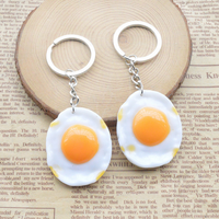Creative simulation food accessories Fried eggs key resinchain crafts and gifts
