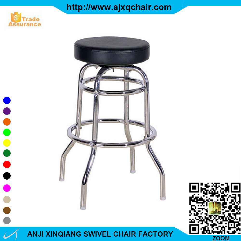 XQ-734 High Metal Frame Four Legs Bar Stool With Leather Seat And Footrest