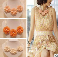 elegent ladies resin pearl flower necklace fashion nacklace