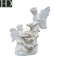 Natural Marble Garden Fountain White Jade Angel Water Fountain For Sale