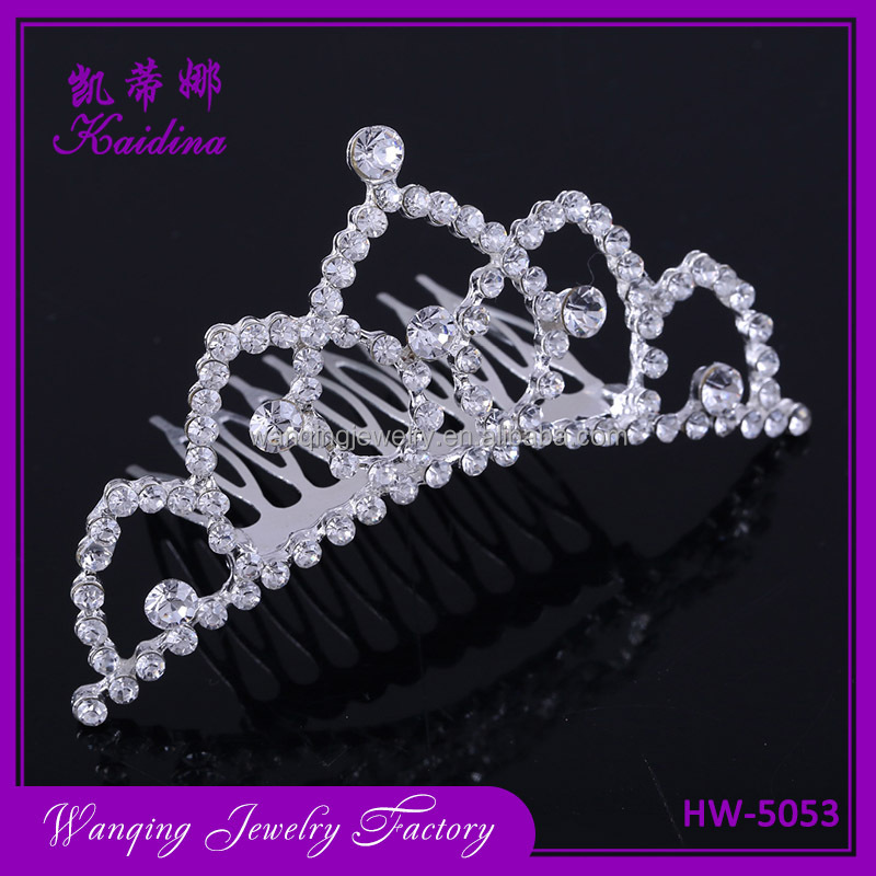 Wholesale princess white rhinestone and gold wedding crown hair accessories bridal tiara with comb