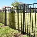 Powder coated wrought iron balusters with iron grille gate design