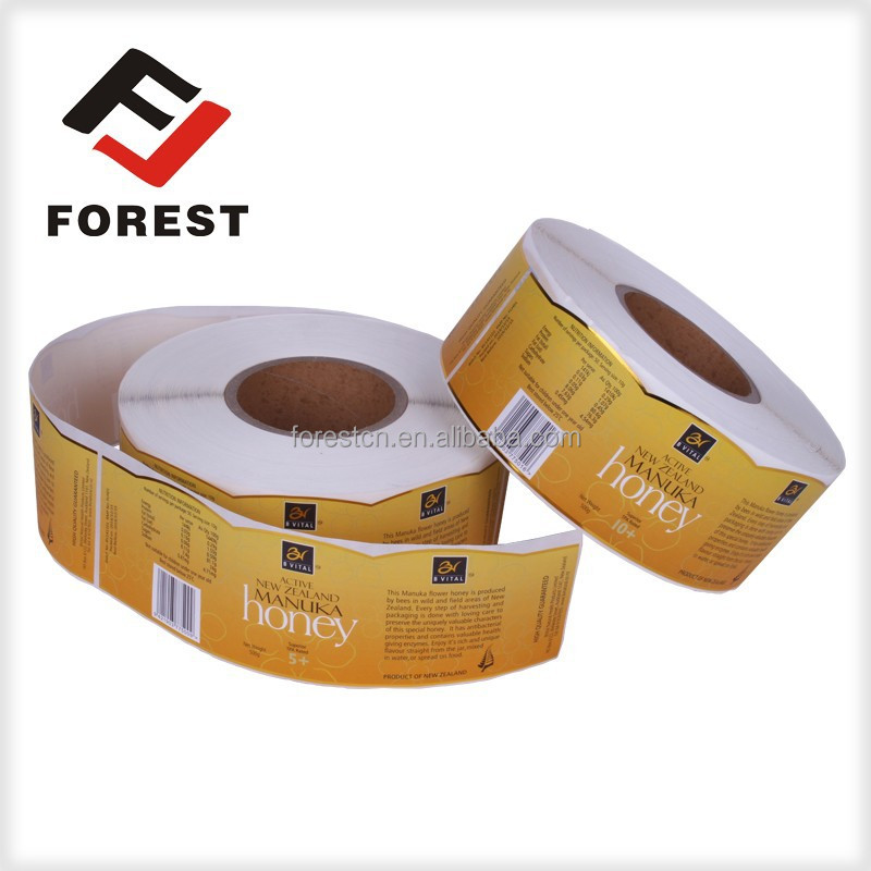 High quality stardard printing glossy lamination honey label sticker