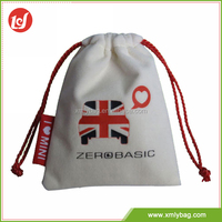Unique design logo white drawstring velvet pouch bag