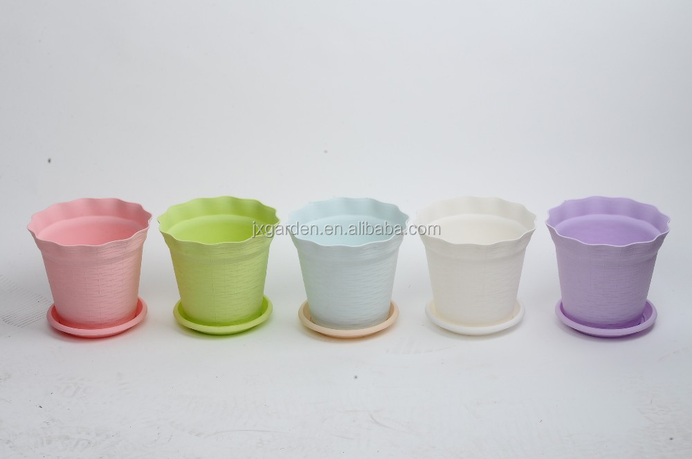 mini flower planter colorful plastic pot with tray