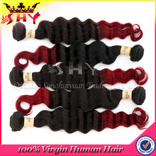 Peruvian ombre virgin hair, two tone ombre remy hair weaving