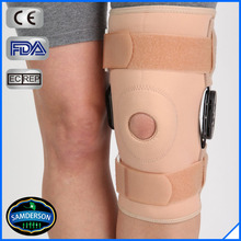 ROM hinged knee stabilizer support/knee support with a hole