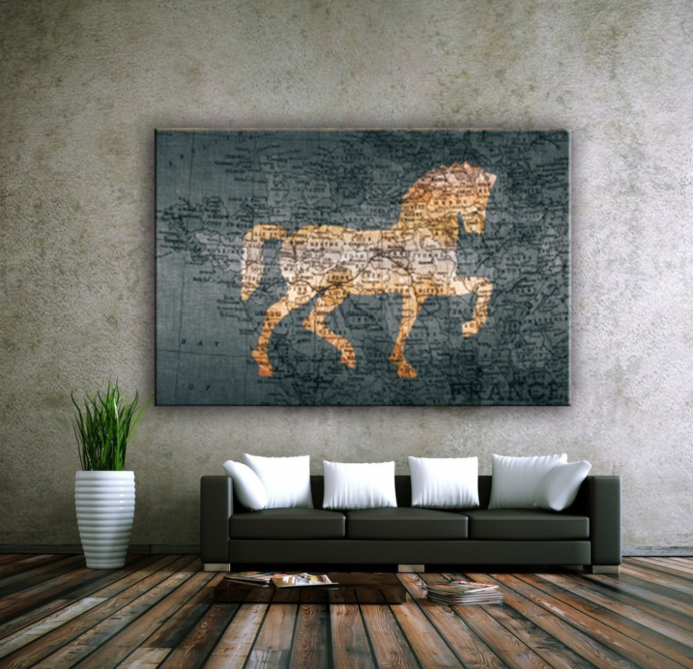 Beautiful hot sale horse and map canvas wall painting designs for living room