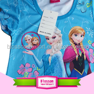 Hot sale turquoise cotton frozen elsa anna fancy dresses for baby girl