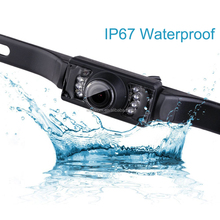 Night Vision Waterproof License Plate Mount Rear View Backup Parking Reverse Camera Built-in Distance Scale Lines