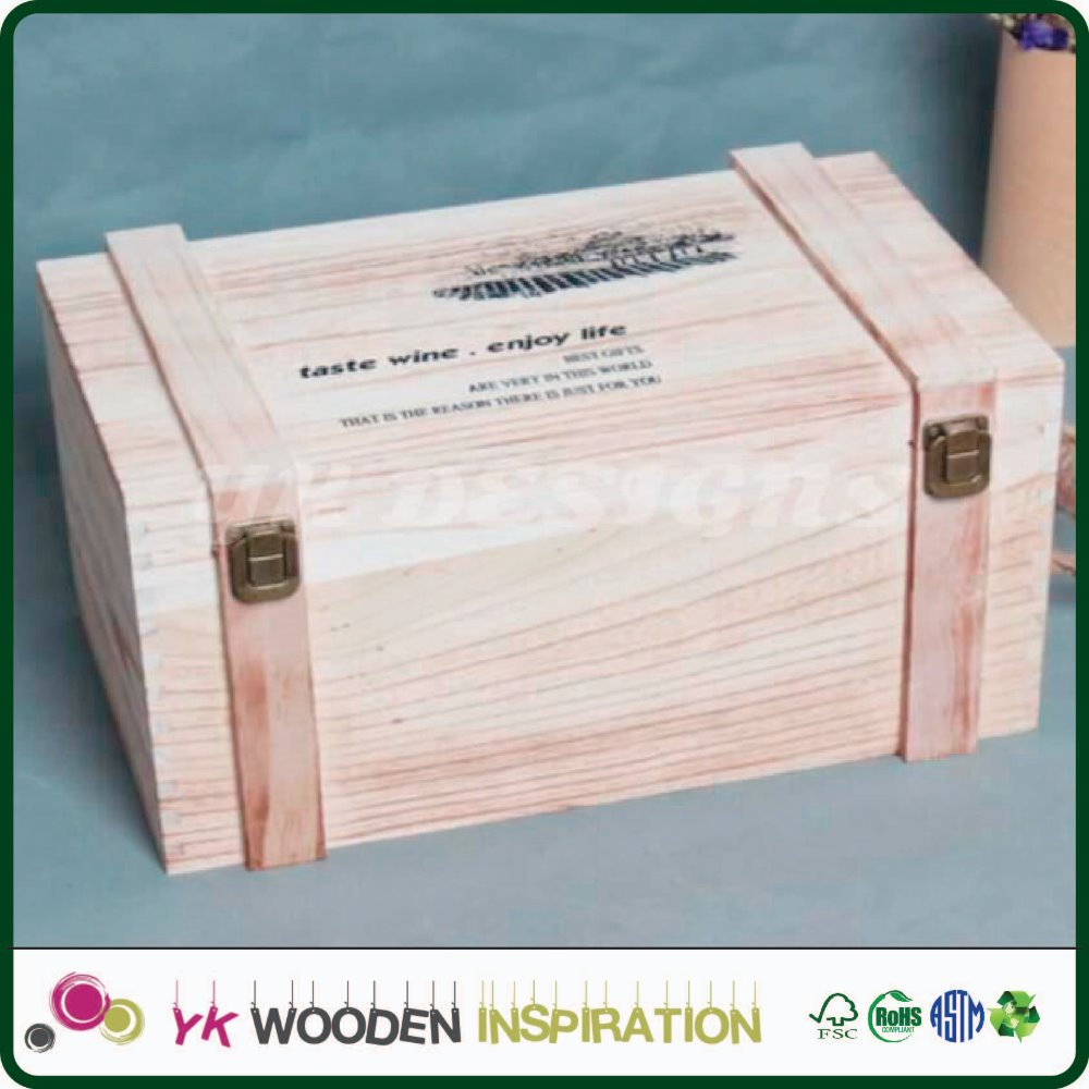 Customized high quality wooden wine box manufacturer Customer's Logo Customized Accept Custom Wooden Box
