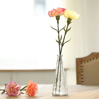 Home decor small clear rustic glass vase with artificial flowers