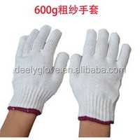 Cotton/Polyester Regular Weight Plain Seamless Knit Glove with Elastic String Knit Wrist, Large, Natural White