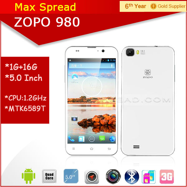 "Instock!! 5.0"" FHD screen Android 4.2 zopo zp 980 mtk6589 quad core 1.5GHz Dual camare 5MP/13MP Smartphone"