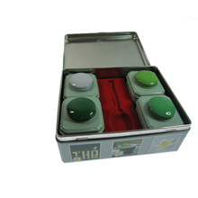 Food grade large Rectangle metal hinged lid tin box with 4pcs small square tin box set for tea