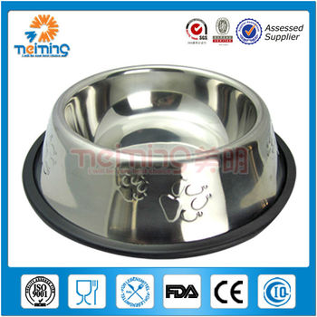 cheap printed dog bowl in stainless with rubber