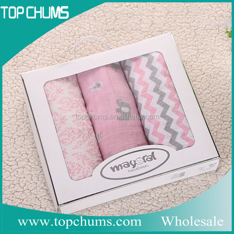 Gift box+Fashion cute design print soft comfortable muslin swaddle blanket <strong>baby</strong>
