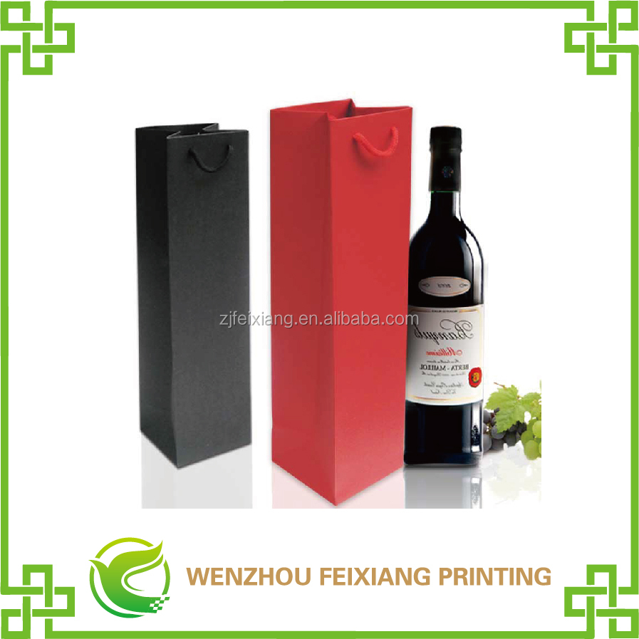 with logo gift shopping custom wine paper bag