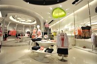 Shopping mall garments retail display counters children clothing store designs