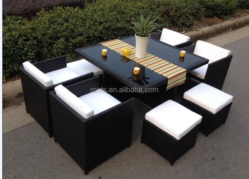 9 pc mobilier de jardin en rotin osier salle manger for Set de table en osier