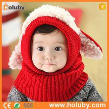 2017 High quality Christmas gift kids animal hat baby winter hat with scarf, earflaps