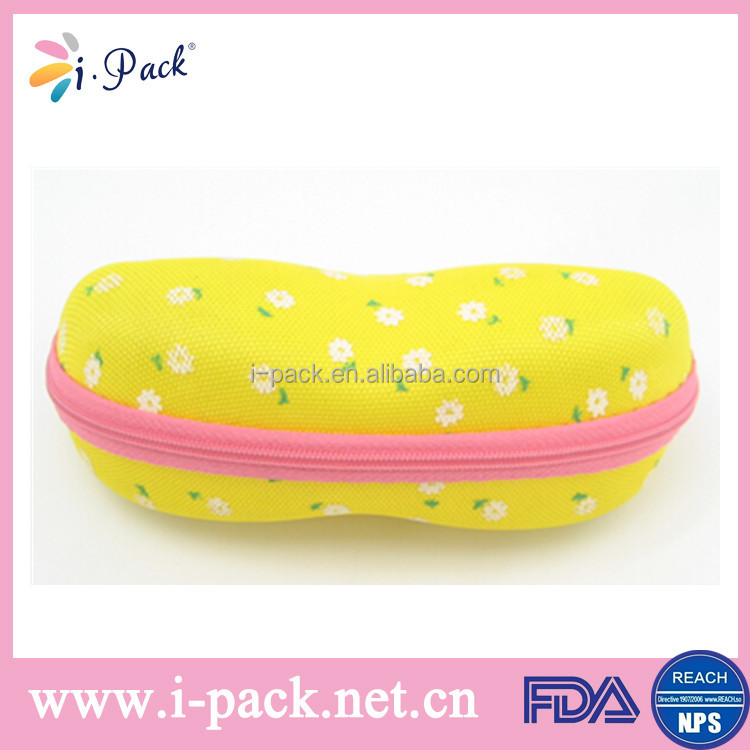 Hotselling easy carrying zipper kids sunglass case custom made EVA box for children sunglasses