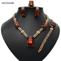 Wholesale Costume Jewelry Sets 18k Gold Plated African Jewelry Set Amber Rhinestones