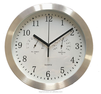 Factory supply metal 10 inch wall clock with temperature and humidity